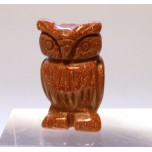 Owl Carved Fetish Bead 0.75 Inch - Goldstone