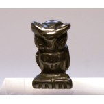 Owl Carved Fetish Bead 0.75 Inch - Hematite