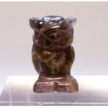 Owl Carved Fetish Bead 0.75 Inch - Amethyst