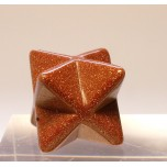 Merkaba Carved Fetish Bead 0.75 Inch - Goldstone