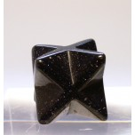 Merkaba Carved Fetish Bead 0.75 Inch - Blue Goldstone