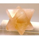 Merkaba Carved Fetish Bead 0.75 Inch - Rose Quartz