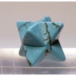 Merkaba Carved Fetish Bead 0.75 Inch - Howlite Turquoise