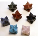 Merkaba Carved Fetish Bead 0.75 Inch - Assorted Stones