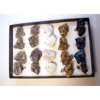 Chunky Crystal  Rings Silver Color - 20 piece pack - Adjustable