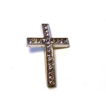 Rhinestone Metal Cross Pendant - Feed Through - Light Purple- 10 pc pack