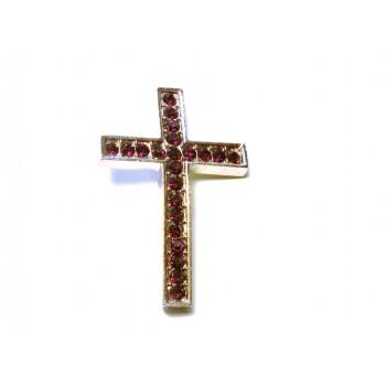 Rhinestone Metal Cross Pendant - Feed Through - Dark Purple- 10 pc pack