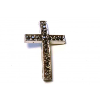 Rhinestone Metal Cross Pendant - Feed Through - Grey - 10 pc pack