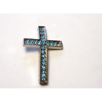 Rhinestone Metal Cross Pendant - Feed Through - Teal - 10 pc pack
