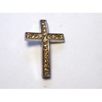 Rhinestone Metal Cross Pendant - Feed Through - Amber - 10 pc pack
