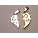 BFF Charms - Set of 2 - Boy/Girl Heart