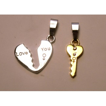 BFF Charms - Set of 2 - Heart and Key