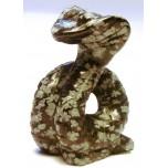 Snake (Cobra) 1.5 Inch Figurine - Snowflake Obsidian