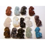 Monkey Carved Fetish Bead 0.75 Inch - Assorted Stones