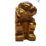 Monkey Carved Fetish Bead 0.75 Inch - Tiger Eye