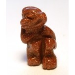 Monkey Carved Fetish Bead 0.75 Inch - Goldstone