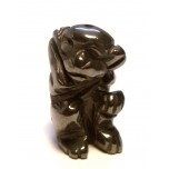 Monkey Carved Fetish Bead 0.75 Inch - Hematite
