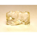 Panther Carved Fetish Bead 0.75 Inch - Clear Quartz