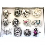 Silver Finish Costume Rings with Crystals - Assorted 1