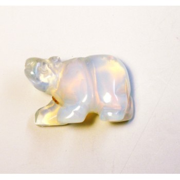 Bear Walking Carved Fetish Bead 0.75 Inch - Opalite
