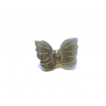 Butterfly Carved Fetish Bead 0.75 Inch - Hematite