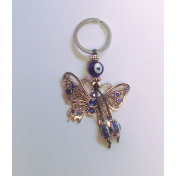 Blue Eye Key Chain - with Butterfly silver finish