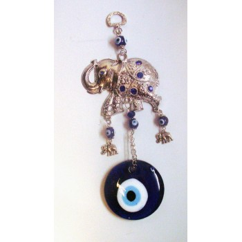 Metal Pendant - Blue Eye with Elephant