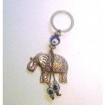 Blue Eye Key Chain - with Elephant silver finish