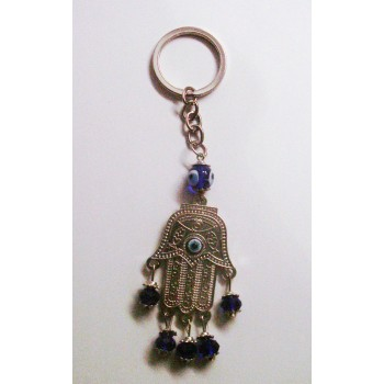 Blue Eye Key Chain - with Lucky Hand silver finish