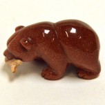Bear with fish 2.25 Inch Figurine - Goldstone