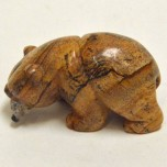 Bear with fish 2.25 Inch Figurine - Picture Jasper