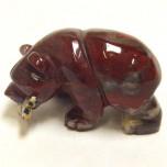 Bear with fish 2.25 Inch Figurine - Rainbow Jasper