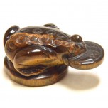 Frog with Coin 2.25 Inch Figurine - Tiger Eye