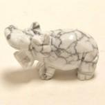 Hippo 2.25 Inch Figurine - Howlite White