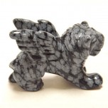 Lion with Wings 2.25 Inch Figurine - Snowflake Obsidian