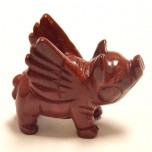 Pig Flying 2.25 Inch Figurine - Rainbow Jasper