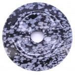 Donut 40mm Pendant - Snowflake Obsidian
