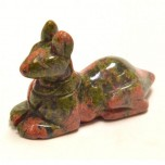 Egyptian Dog Anubis 2.25 Inch Figurine - Unakite