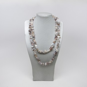 34-35 Inch Chip Necklace - Botswana Agate
