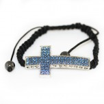 Adjustable Bracelet with Large Cross - Sky Blue