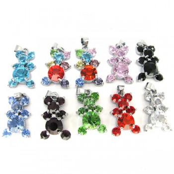 Rhinestone Crystal Pendants 10 piece Packs - Multi Color Bears