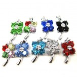 Rhinestone Crystal Pendants 10 piece Packs - Multi Color Flowers