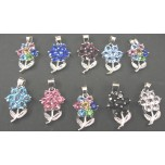 Rhinestone Crystal Pendants 10 piece Packs - Flower with Leaf