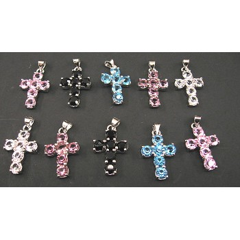 Rhinestone Crystal Pendants 10 piece Packs - Cross
