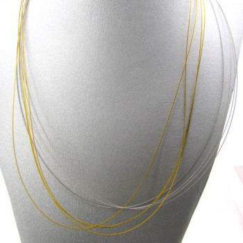 18 Inch 8 Strand Wire Choker with Sterling Silver Clasp 5pcs Pack - Silver and Gold