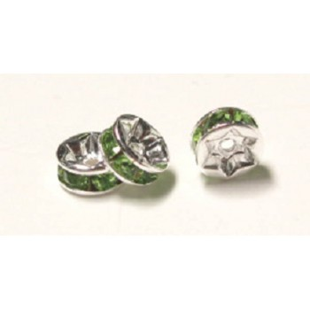 711 6mm Green Crystal Rondelle 12 Piece Packs
