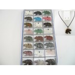 Pendant Pack on Cord - Bear Assorted Stones 24 piece pack
