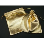 Metallic Fabric Pouch Small 2.5 Inch x 3.5 Inch 12 piece pack-Gold