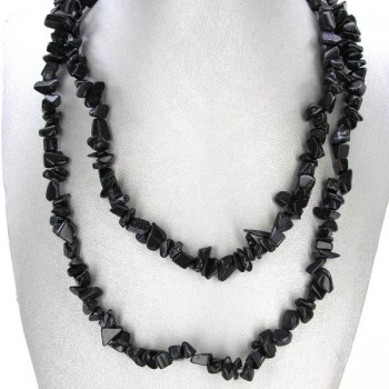 34-35 Inch Chip Necklace - Blue Goldstone