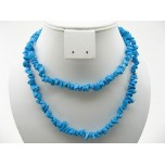 34-35 Inch Chip Necklace - Howlite Turquoise